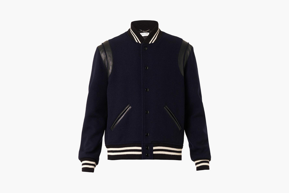 Saint Laurent Paris Navy Varsity Jacket