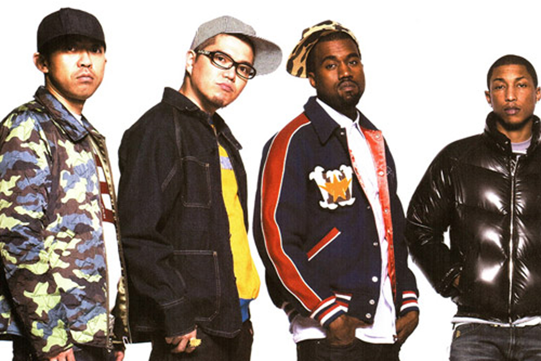 Retro Kanye West, Big Sean, Pharrell pour le lookbook BAPE 2008