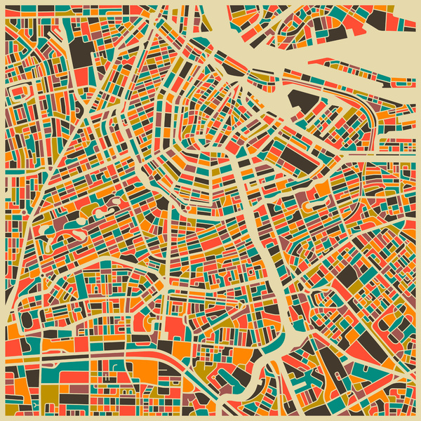 Cartographie Amsterdam Jazzberry Blue