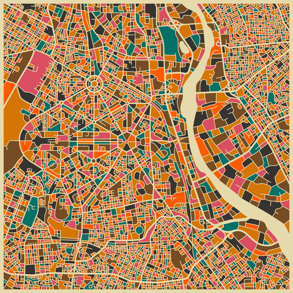 Cartographie New Delhi Jazzberry Blue