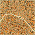 Cartographie Paris Jazzberry Blue