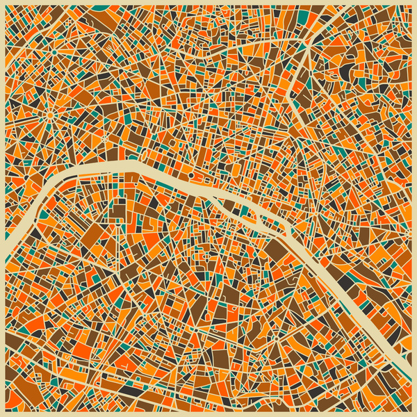 Cartographie Paris Jazzberry Blue