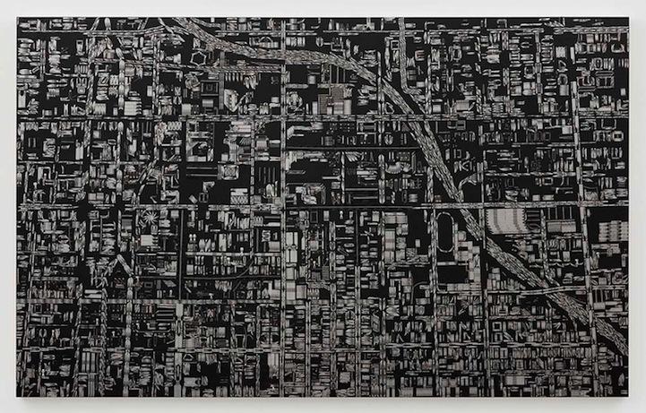 Black scalpel cityscapes damien hirst