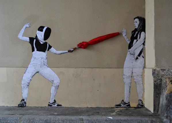 Levalet Street Art Escrime