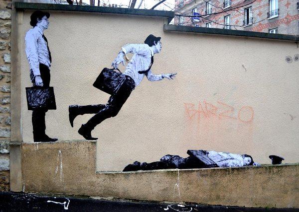 Levalet Street Art La Chute
