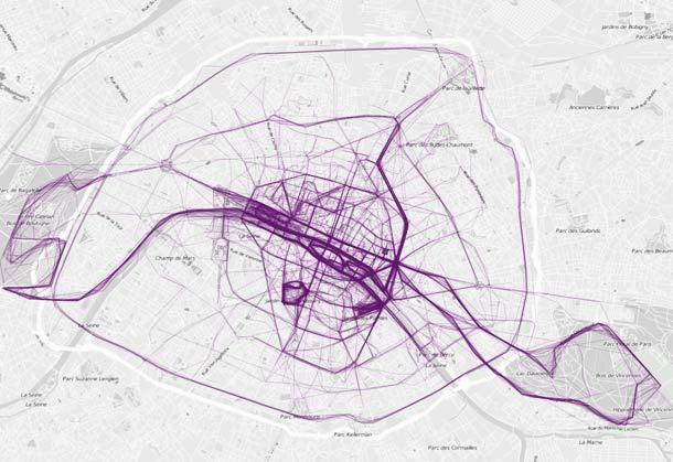 Where People Run : data visualisation by Nathan Yau
