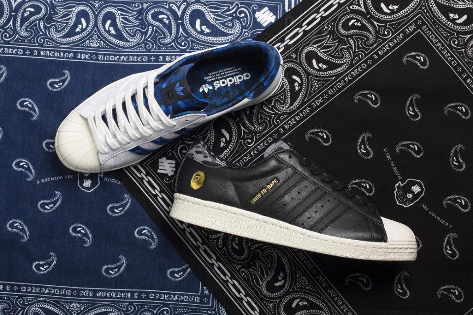 BAPE x UNDEFEATED x adidas Originals Superstar 80s Pack
