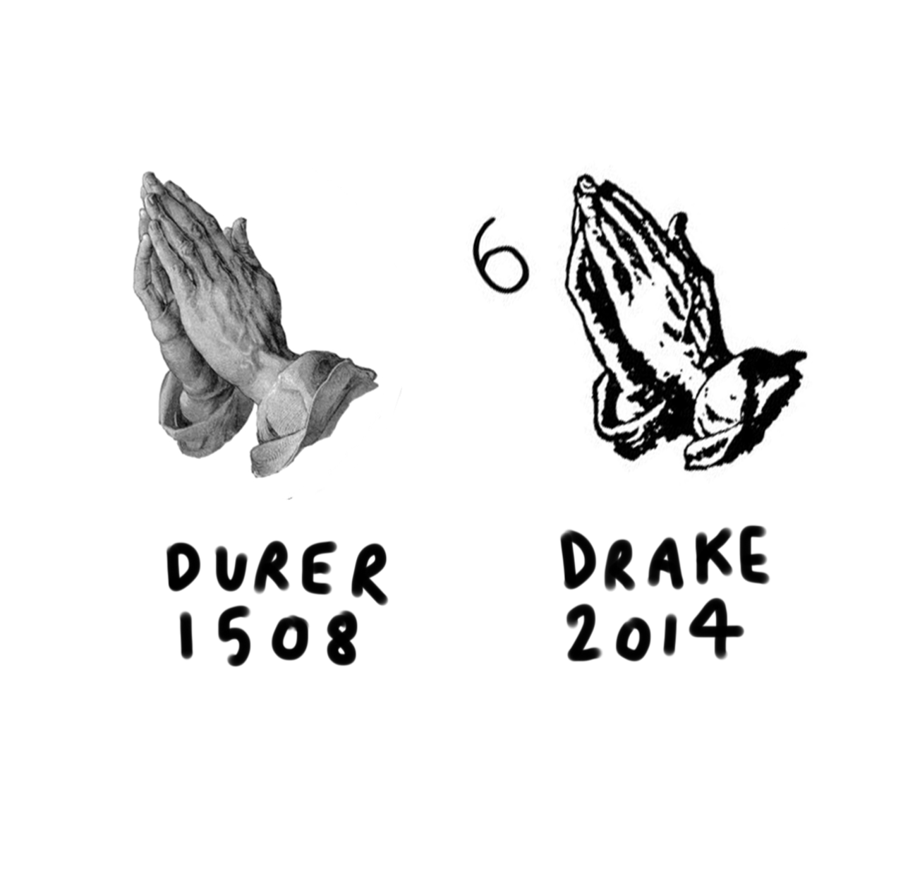 Left: A. Durer Praying hands (removed from background) 1508 / Right: Drake 6 artwork 2014/2015