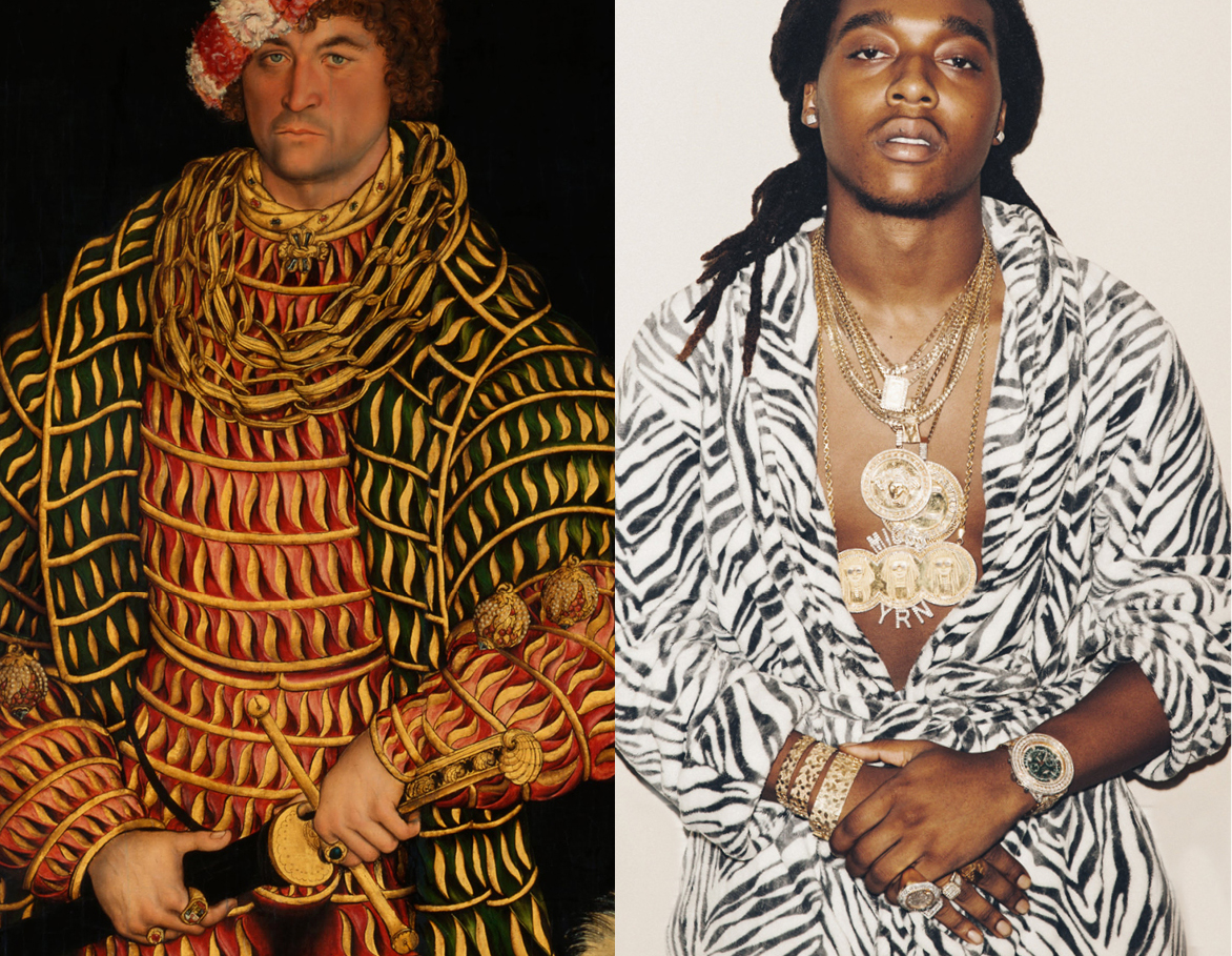 Left: Portrait of Henry the Pious, Duke of Saxony by Lucas Cranach  - 1514 / Right: Takeoff from Migos (thanks nightjuiceshop)