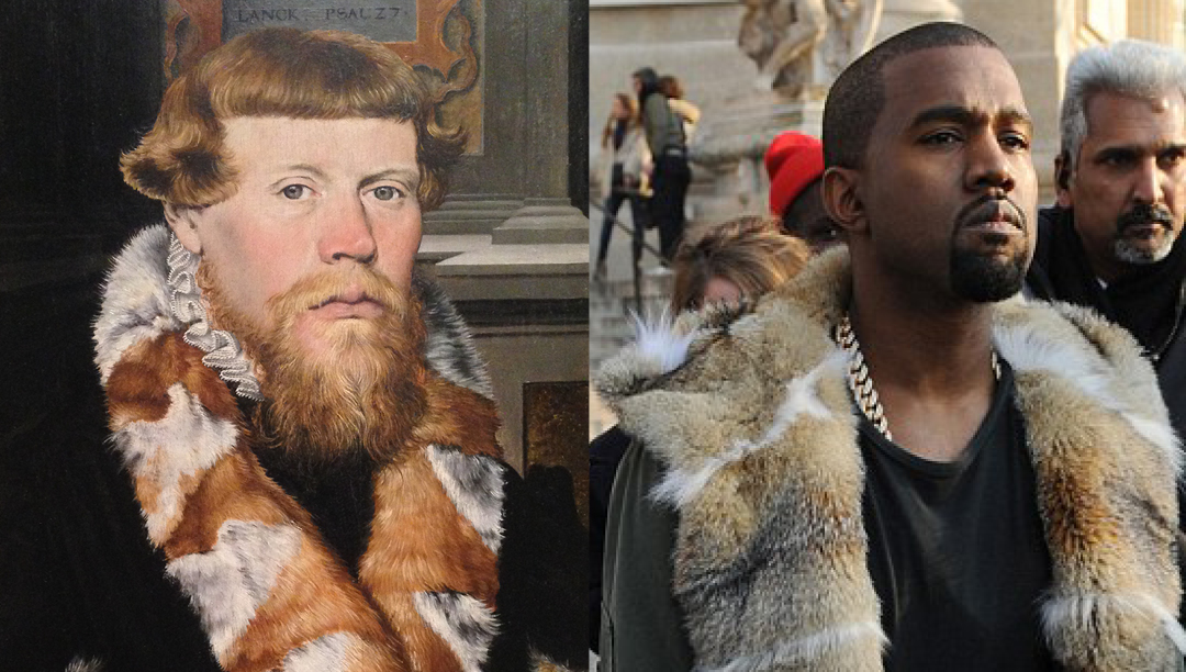 Left: detail of Christ Blessing surrounded by a Donor Family. Unknown German Painter 1560 - Right: Kanye West