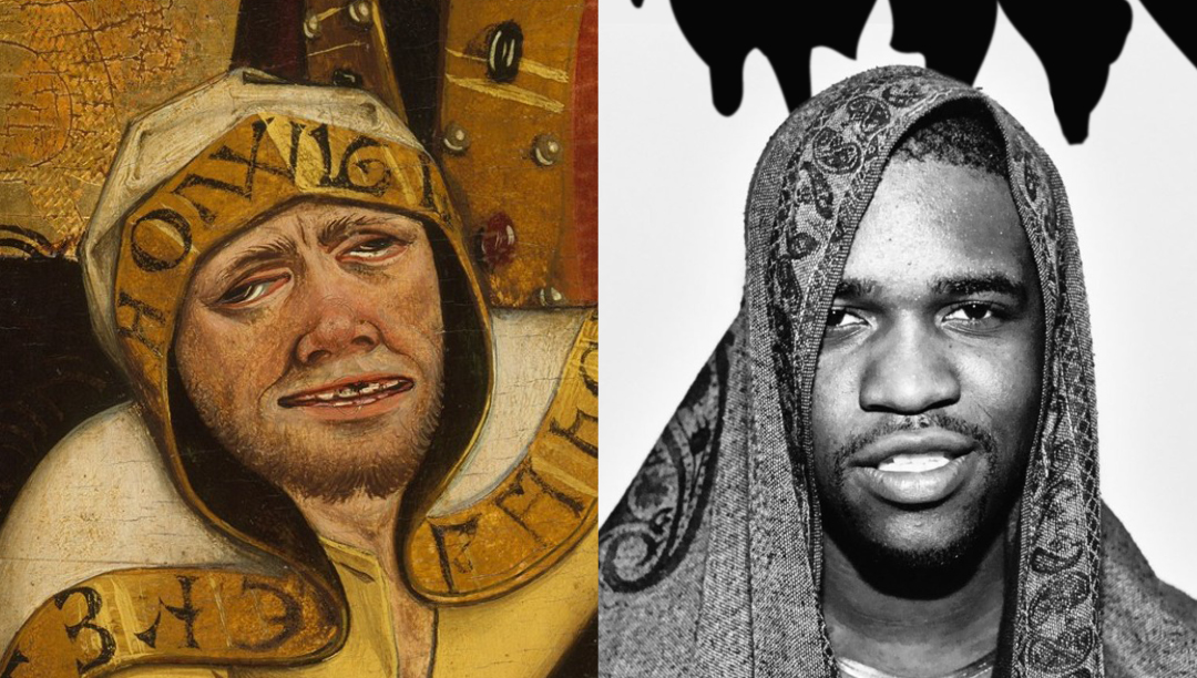 """Left: Detail of """"The Martyrdom of Saint Lawrence,"""" oil on wood, by Masters of the Acts of Mercy (Austrian, Salzburg, c. 1465) Right: ASAP Ferg"""
