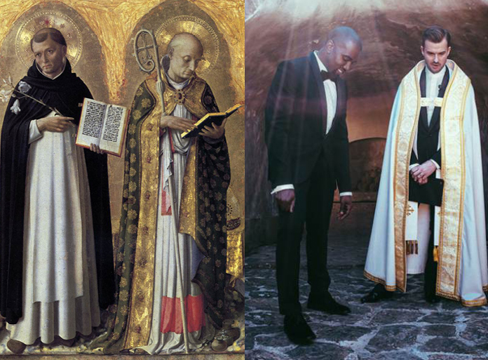 Left: Perugia Altarpiece left panel by Fra Angelico, 1437 / Right: Kanye West and Pastor Rich Wilkerson Jr at Kim & Kanye's wedding. May 24, 2014 Florence Italy