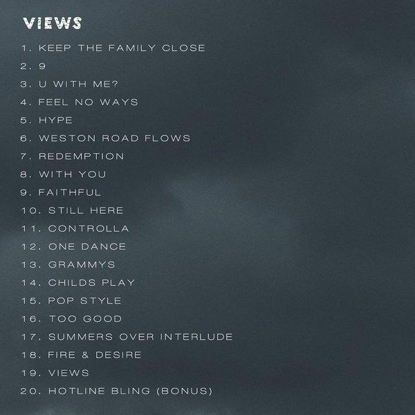 Drake dévoile la tracklist de Views