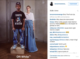 Le model Ian Connor pose pour Off-White