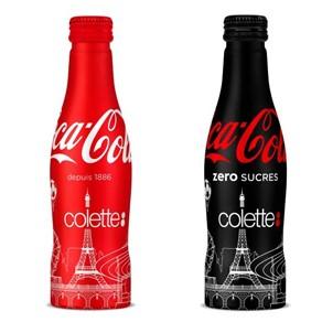 colette a désormais ses propres bouteilles Coca-Cola Classic et zero sucres revisitées par l'artiste Maztrone