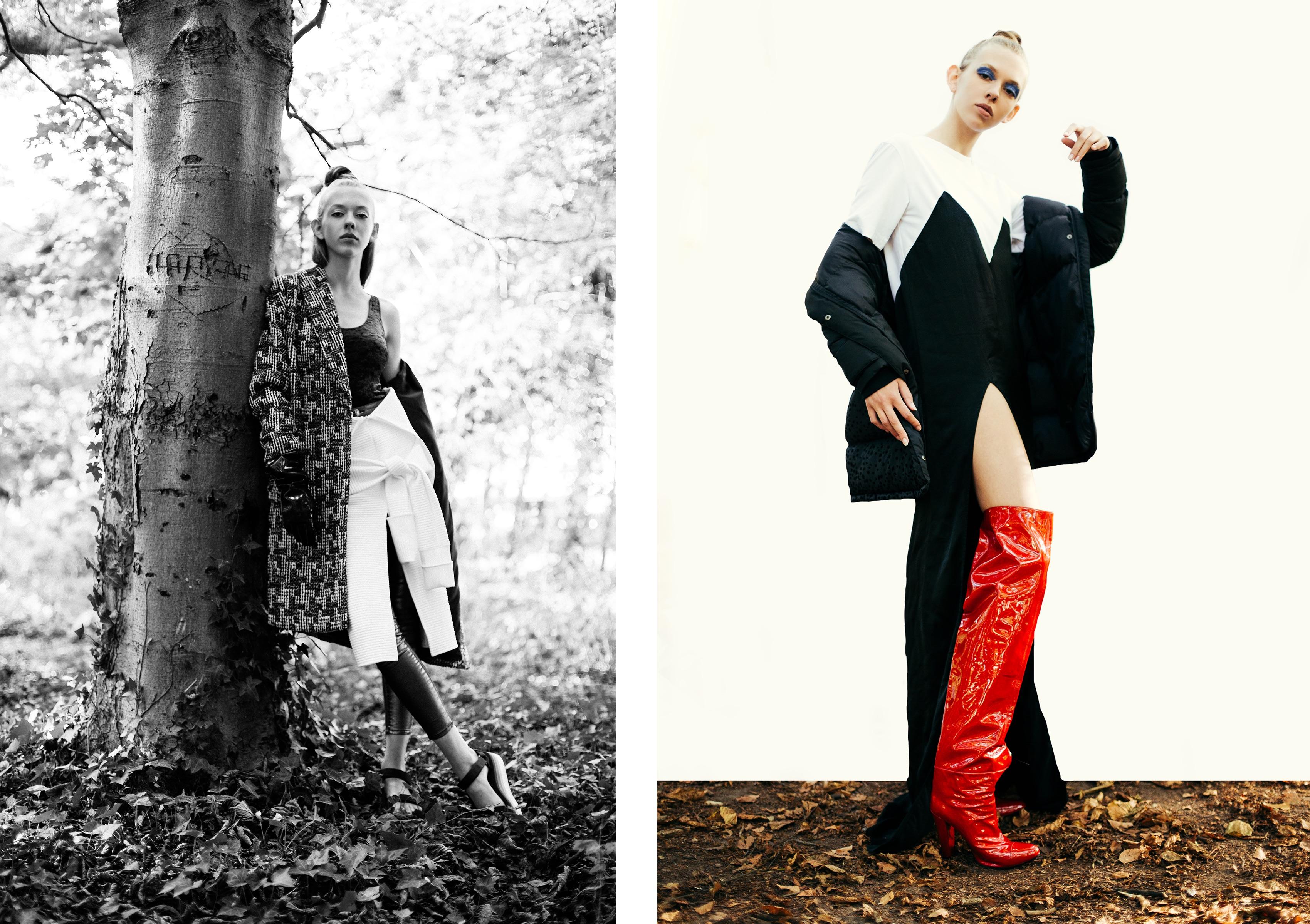 A gauche // Manteau : SEE YOU SOON; Body : WANDA NYLON; Robe blanche : WANDA NYLON; Pantalon : PRIMARK -- A droite : Robe, Bottes : WANDA NYLON; Manteau : SKUNKFUNK.