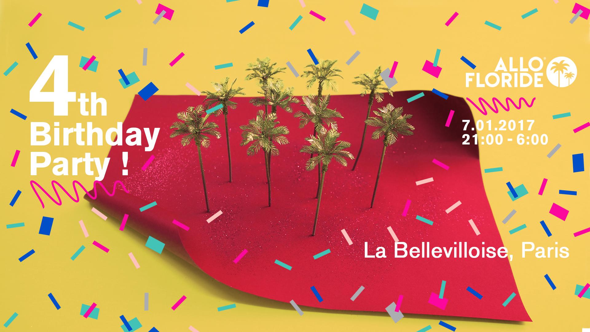 Allo Floride fête son 4 ème anniversaire le 7 janvier à la Bellevilloise !