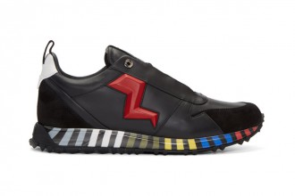 Fendi Black Red Leather Bolt Sneaker - TRENDS periodical