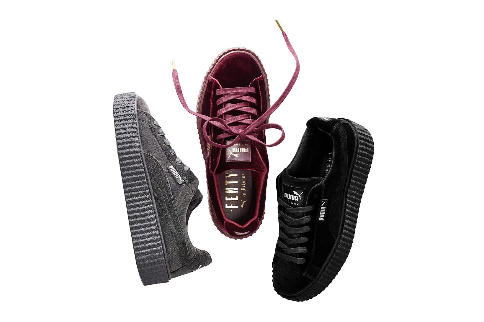 Chaussures Puma X Fenty Rihanna Creepers Velvet Gris