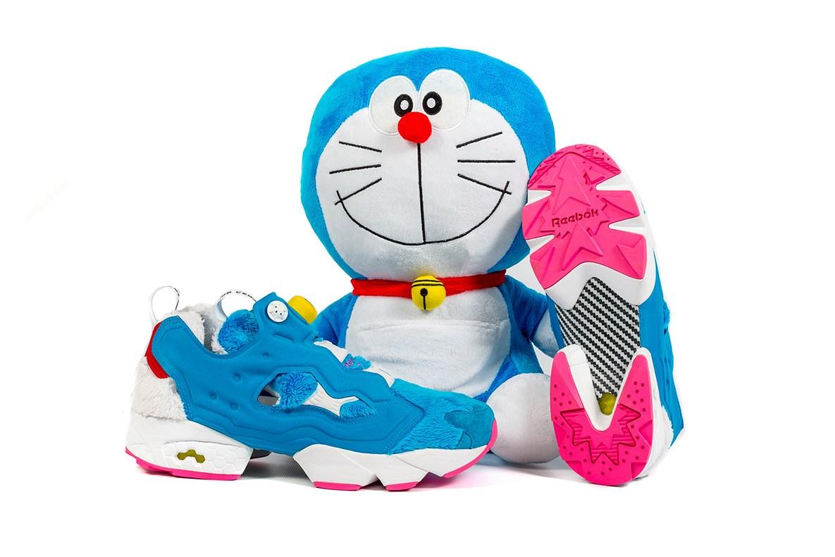 Doraemon se glisse dans la Instapump Fury pour une collab Packer x atmos x Reebok