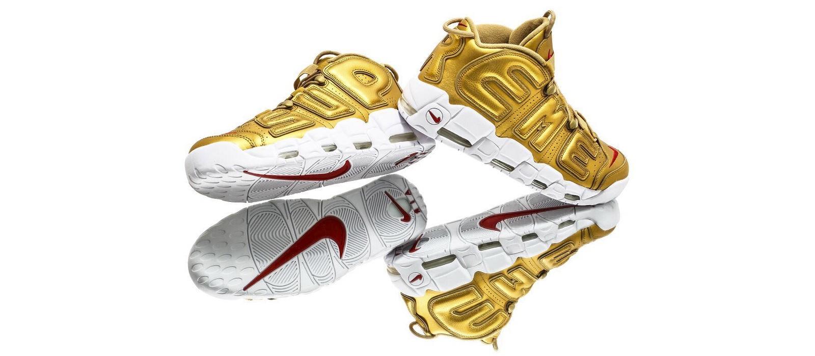 Découvrez de plus près la Gold Supreme x Nike Air More Uptempo
