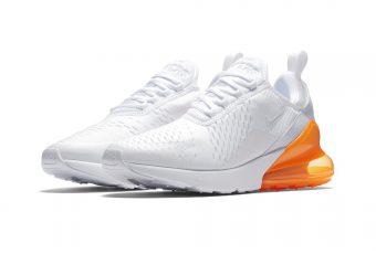Venez jeter un coup d'œil à la nouvelle Nike Air Max 270 (White/Orange) !