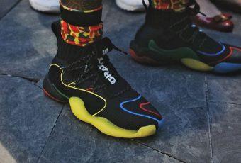 Pharrell Williams : vu avec une paire inédite d'adidas Crazy BYW