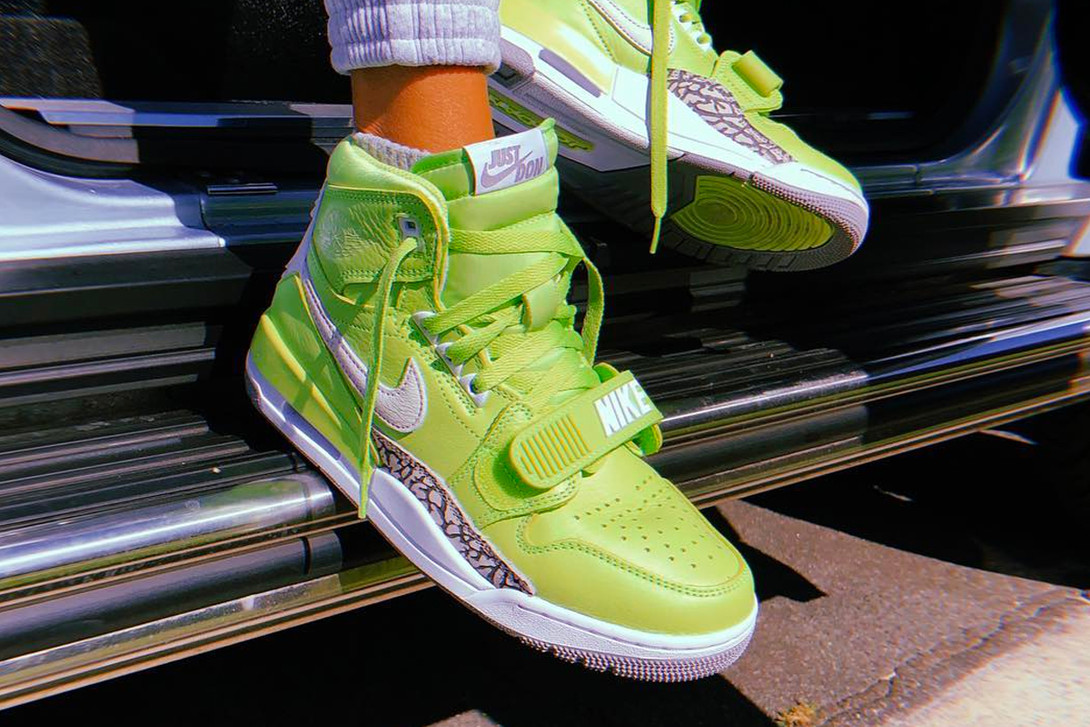 "Kid Cudi rock une Just Don x Jordan Legacy 312 ""Ghost Green"""